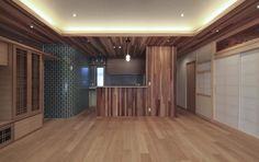 キッチン事例:木×タイルの和モダンなキッチン(『TOMOIKI NO IE』こだわりいっぱい、和モダンな住宅)