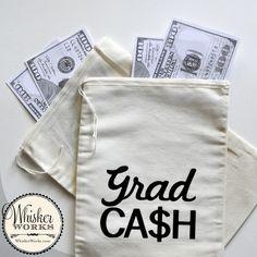 Grad Cash money bags for a Graduation Party Money Bags, Cash Money, Diy Photo Booth, Photo Props, H Words, Graduation Photos, Dots, Reusable Tote Bags, Party