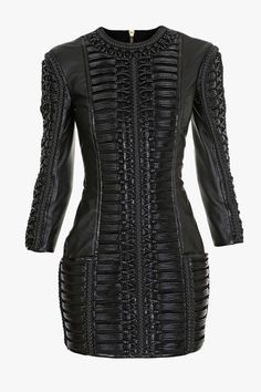 Balmain Woven Leather Mini-Dress