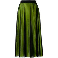 MSGM pleated skirt (20.045 RUB) ❤ liked on Polyvore featuring skirts, black, msgm, knee length pleated skirt, msgm skirt and pleated skirt
