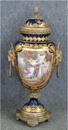 "FRENCH ORMOLU MOUNTED HAND PAINTED 23 1/2"" URN : Lot 238"