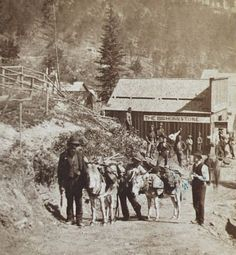 """In 1875, a prospector found gold in a little gulch in the Black Hills. The gulch was full of dead trees. It didn't take long for word to spread, and soon miners filled the hills, looking for """"Deadwood Gulch."""" Western Photo, Western Art, Old Western Towns, Deadwood South Dakota, Old West Photos, Old West Town, Westward Expansion, American Frontier, Cowboys And Indians"""