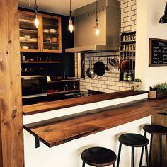 おなじような写真ですみません/カウンター/ナチュラル/カフェ風/一軒家…などのインテリア実例 - 2017-03-26 17:19:38 | RoomClip(ルームクリップ) Restaurant Kitchen Design, Japanese Interior Design, Home Bar Designs, My House Plans, Cafe Style, Kitchen Collection, Wooden Kitchen, Diy Interior, Kitchen Sets
