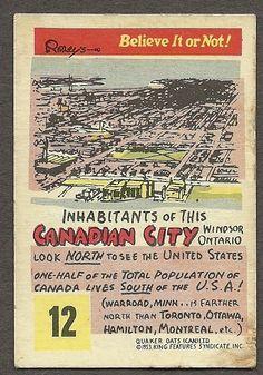 1953 Quaker Oats Canada Ripley's Believe It or not Card 12 Windsor Ontario | eBay