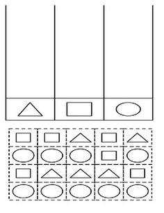 Pre-K Shape Sorting  All shapes of the same kind should be colored the same color. Then cut and paste each shape to its corresponding column. Very basic.   Shape Recognition Intro to Graphing Coloring Cut/Paste Practice  If you have a problem with any worksheet in my store, please contact me! I want you to be fully satisfied! Feedback requested from happy customers! :)