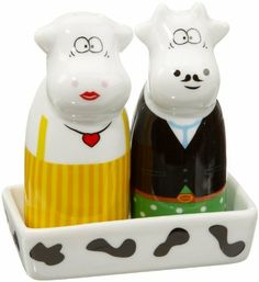 Cilio Salt & Pepper, Butler Cows by Frieling. $9.27. Porcelain with burnt-in design. German design. Tray included. Whimsical Cilio Porcelain Salt and Pepper Shaker Set in fun Butler Cows design. Décor is burnt in and made to last. Two 3.5-inch Shakers with Tray.. Save 34%!