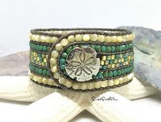 Beaded Leather Bracelet, Peyote Cuff, Beaded Leather Peyote, Unique Bracelet, Sand Dollar Bracelet, Boho Chic, Beach Bracelet, Leather Cuff