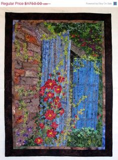 ON SALE Art Quilt  Hollyhock Cottage  Wall Hanging by SallyManke, $1575.00