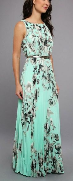 Sleeveless Maxi With Pleated Bodice And Skirt