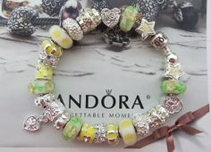 "Yellow ""Sun Burst"" ~ Authentic Pandora Bracelet with European Lampwork Murano glass Beads and Charms, Glass Rose Dangle 103"