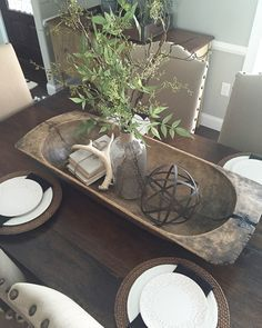 Need some dough bowl decorating inspiration? These 20 dough bowls have been beautifully styled for fall. Wooden Dough Bowl, Wood Bowls, Dining Room Table Centerpieces, Table Decorations, Dining Room Centerpiece, Centrepieces, Shabby Chic Zimmer, Beautiful Dining Rooms, Decorating Coffee Tables