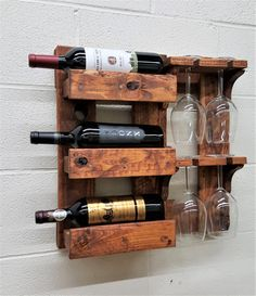 Wood Wine Rack. House Gift. Reclaimed Wood. Rustic Wine Rack. Barn Wood. Wall Mounted Rack. Wine Glass Holder. Modern Wall Bar. Wine Rack for 3 regular sized wine bottles (750ml) and 4 wine glasses . ***The bottles and glasses not included*** ***If you would like specific stain color put a note to seller, so we can see it on printed order*** ***Custom order are welcome***