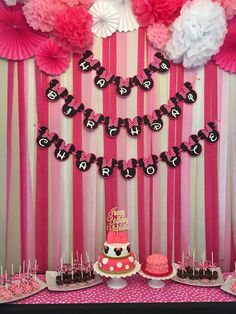 Minnie Mouse first birthday party dessert table and backdrop: