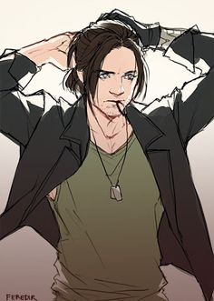 Bucky in casual clothes, putting his hair up. :D (Gurl hold my dogtags, I gotta take care of sumthin)?