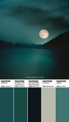 Full Moon over the mountain lake Pantone Color Palette 356 -.-Full Moon over the mountain lake Pantone Color Palette 356 – Full Moon over the mountain lake Pantone Color Palette 356 – - Pantone Verde, Azul Pantone, Paleta Pantone, Pantone Colour Palettes, Color Schemes Colour Palettes, Green Colour Palette, Pantone Color, Pantone Green, Nature Color Palette