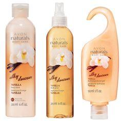 AVON - Body Naturals Silky Vanilla..  Body Lotion #605-255 $6 Body Spray# 608-106 $8 Shower Gel# 609-891 $4