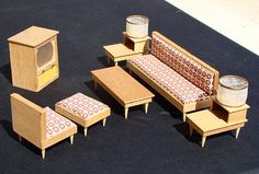 1960s Mid Century Modern Swedish Wood Livingroom Set Vintage Dollhouse Furniture | eBay