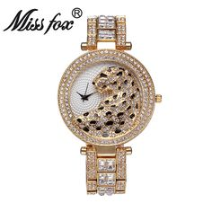 ==> [Free Shipping] Buy Best Miss Fox Women Quartz Watch Bling Casual Ladies Watch Female Quartz Gold Watch Crystal Leopard Clock Hodinky Relogio Feminino Online with LOWEST Price | 32822103145