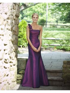 Charming one shoulder sleeveless taffeta bridesmaid dress