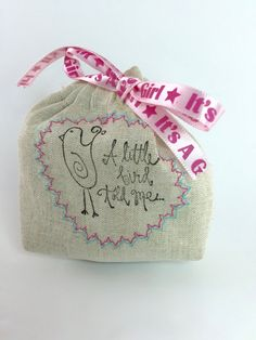 "Party Favor Bag - Stamped ""A little bird told me... ""it's a girl""- Embroidered - Reusable Drawstring - Linen Look gifts, treats, jewelry by SpanishVelvet on Etsy"