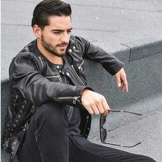 Men's Leather Jacket, Leather Men, Leather Jackets, Maluma Haircut, Maluma Style, Maluma Pretty Boy, Camisa Lisa, Latin Men, Hip Hop
