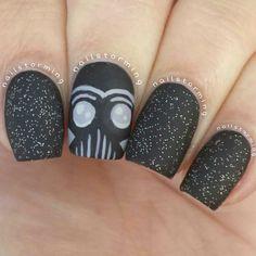 Star wars nail art. Black nails. Anime. Creative. Darth Vader nail design. Polish. Polialshes. By nailstorming