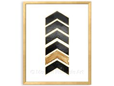 Download File: arrow head geometric chevron art in black with gold foil effect accents.    For a coordinating geometric printable files: