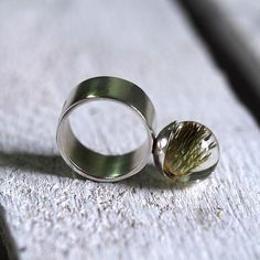 Resin Ring with Thistle SIlver Ring Resin Jewellery Bridal