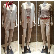 "Max Mara SS 2014 Collection: Weekend long length cotton / silk beige cardigan with ¾ sleeve | Studio label stretch-cotton pants | Max Mara 100% metallic silk stripe long sleeve blouse | Max Mara ""Amica"" 100% silk scarf 