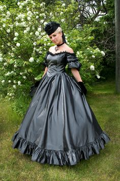 Buy Priscilla Victorian Gown from Recollections. Our design staff has dedicated over 30 years creating fine ladies garments. Victorian Gown, Victorian Fashion, Dream Dress, I Dress, Party Mode, Civil War Dress, Satin Dresses, Beautiful Gowns, Ball Gowns