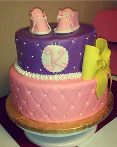 Pink, Purple, and yellow, baby shower cake