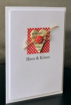 handmade Valentine card from A Little Space of My Own ... clean and simple ... small red square with white polka dot topped with heart die cut from upcycled paper ... button and twine bow ...