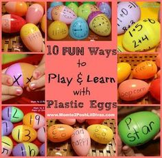 10 FUN ways to reuse those plastic eggs that encourage learning through play. #math #reading #literacy