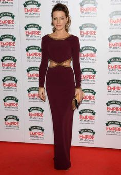 She's a classy lady! Kate Beckinsale rocked a wine-colored Jenny Packham dress with cutouts at the Jameson Empire Film Awards on March 30, 2014.