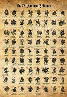 Goetia Demons poster 72 Demons of Solomon Occult Print Witches Illustration Witchcraft Poster Magick Art Demon Symbols, Alchemy Symbols, Magic Symbols, Ancient Symbols, Ancient Demons, Magick, Witchcraft, Wicca, Demon Art
