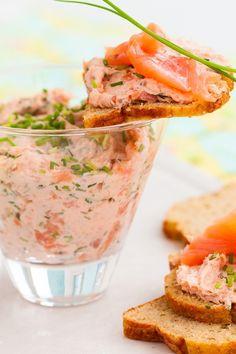 Course(s): Appetizer; Ingredients: black pepper, cream cheese, fresh dill, horseradish, kosher salt, lemon juice, salmon, sour cream