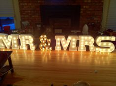 Mr and Mrs sign for our movie themed wedding!