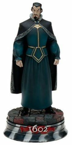 1602 Dr. Strange Statue by Marvel Select. $99.99. Ready to display. Eight Inches Tall. Includes hand-numbered certificate of authenticity *signed by Neil Gaiman*. Special Edition Version!  Limited run of only 1,000. This beautifully rendered Special Edition Version Statue of Doctor Strange from the landmark 1602 comic series is limited to just 1,000 pieces, and comes with a certificate of authenticity signed by Neil Gaiman.