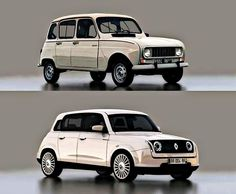 Retro styled Renault 4 by designer David Obendorfer. Retro Cars, Vintage Cars, Vintage Style, Peugeot, Carros Suv, Carros Retro, Futuristic Cars, Cute Cars, Small Cars