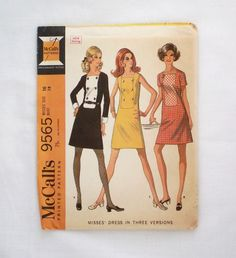 Vintage McCall's dress pattern 9565 size 16 uncut sewing pattern 1960s shift dress 1968 by ResourcefulGoods on Etsy