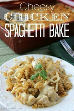 cheesy chicken sgetti bake with crunchies