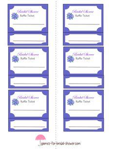 bridal shower raffle tickets template printable