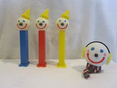 """""""JACK IN THE BOX"""" Pez Dispenser Loose Mint Set of 3 with 1 Antenna Ball"""