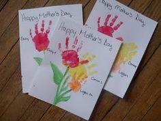 Handprint flowers - a flower for each kid on the same art