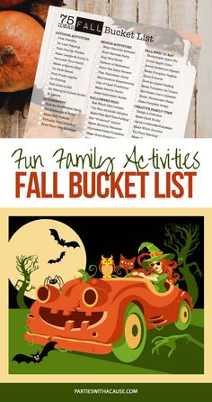 Looking for ways to celebrate Fall with your family? We've got 75+ family Fall activities to make the most of the season. Get all the great ideas with recipes and tutorials at PartiesWithACause.com #fallbucketlist #familyfallactivities #halloweenfun
