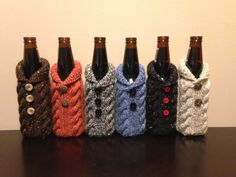 KIT Hand knit beer coozie/cardigan/sweater by LovittClanCreations