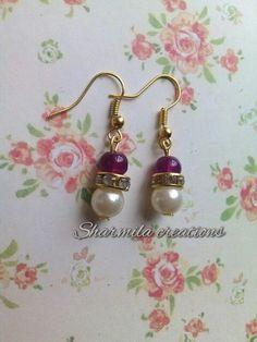 Purple pearl! #jewellery #handmade #sharmilacreations #earrings #beads #pearl #purple
