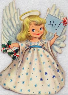 #503 50s Hallmark Angel Says Hi! Vintage Diecut Christmas Greeting Card