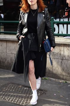 20 Outfits That Prove You Can Wear Converse with Anything - Layer Up in Leather from InStyle.com