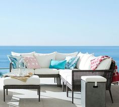 Our Cammeray Outdoor Sectional is made with all-weather wicker for lasting beauty at a great value. Customize the look of your sectional with colorful striped or solid slipcovers Outdoor Lounge, Outdoor Chairs, Outdoor Living, Outdoor Spaces, Lounge Seating, Indoor Outdoor, Outdoor Decor, Pottery Barn Sectional, Sectional Ottoman